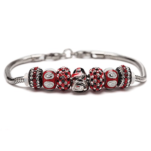 University of Georgia Bracelet | UGA Bulldogs Bracelet with 1 Bulldogs Charm, 2 Red Round UGA Charms and 4 Crystal Charms | Officially Licensed University of Georgia Jewelry | UGA | Stainless Steel Bulldogs Round Crystal