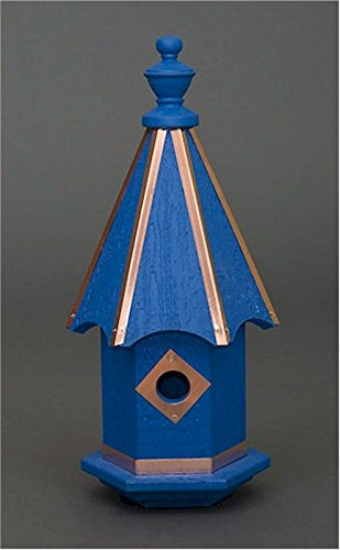Bluebird Birdhouse Wooden with Copper Trim Blue Amish Made in USA