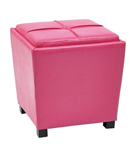 Office Star Metro Vinyl 2-Piece Storage Ottoman Nesting Cube Set with Dark Espresso Finished Feet, Pink Review