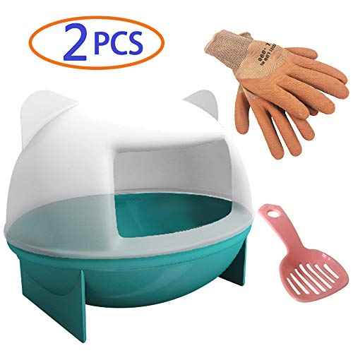 Hamster Sand Bathroom,Critter Bathing Powder Litter Box,Gerbil Dust Bath Toilet Potty,Rat Sandbath Container,Corner Shower Tub with Scoop and Protective Gloves for Small Animal Dwarf Hamsters Mice