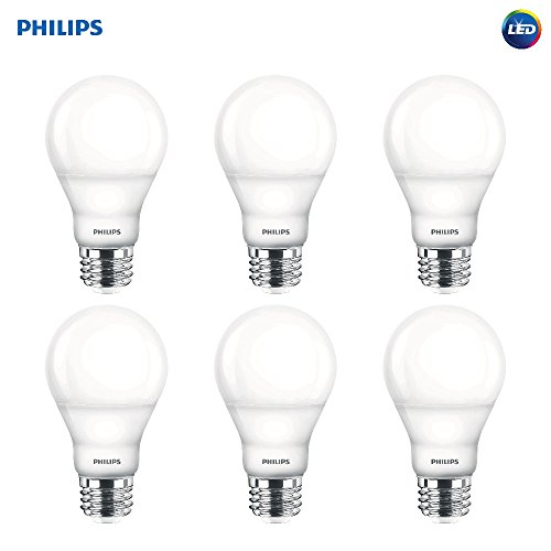 - Philips LED Dimmable A19 Soft White Light Bulb with Warm Glow Effect: 800-Lumen, 2700-2200-Kelvin, 9.5-Watt (60-Watt Equivalent), E26 Base, Frosted, 6-Pack (Old Generation)