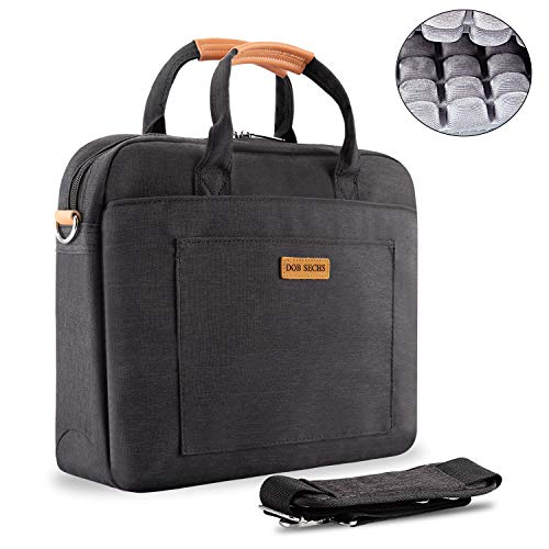 - DOB SECHS 17-17.3 Inch Laptop Bag with Shockproof Pad and Luggage Strap Laptop Case Briefcase with Shoulder Strap Laptop Sleeve for Women and Men, Black