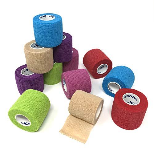- Intock Self Adhesive Bandage Wrap Tape, Cohesive Bandage Medical Tape Gauze Roll, 12 Rolls of 2