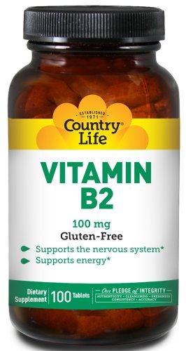Country Life Витамин B-2 100 мг, 100-Граф