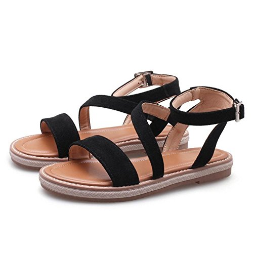 Ouvert Black Sandales Bout JOJONUNU Femmes Plates RCqHxOw