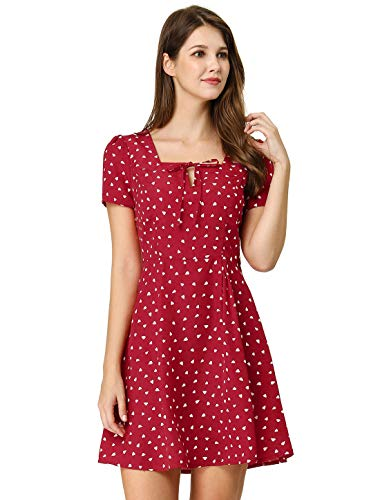 A-line Square Neck - Allegra K Women's Heart Print Casual Square Neck Short Sleeve Flare A-Line Dress Red L (US 14)