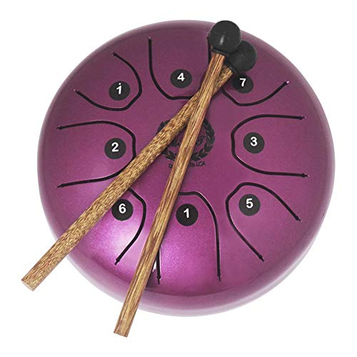 Heilsa Mini Steel Tongue Drum, 5.5 Inch Tank Drum Chakra Drum with Rubber Musical Mallet and Travel Bag Stress Relieve Musical Instrument for Art Lovers Children's Music Enlightenment Buddhist Medita by Heilsa (Image #1)