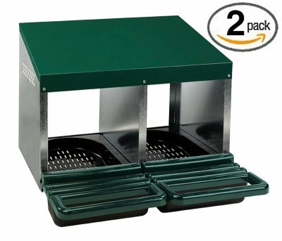 (Homestead Essentials Roll Out Poultry Nesting Box for Chickens - 2 Compartment - Metal - 2 Pack)