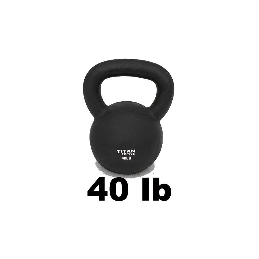 Titan Fitness Cast Iron Kettlebell Weight 40 Lbs Natural Solid Workout Swing