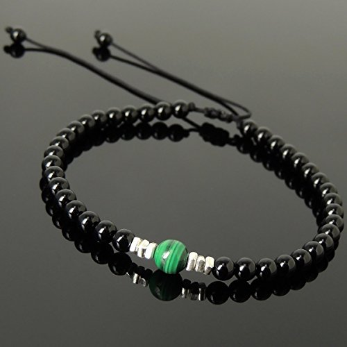 Onyx Nugget (Men and Women Adjustable Braided Drawstring Bracelet Handmade with 4mm Black Onyx, 6mm Natural Malachite & Genuine 925 Sterling Silver Nugget Beads from Thailand)