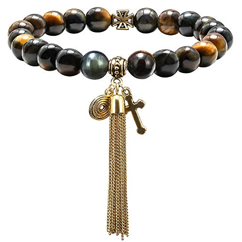 M MOOHAM Gemstone Bead Bracelets - 8mm Natural Dream Tiger Eye Stone Gemstone Beads Bracelet, Men Women Stress Relief Yoga Beads Elastic Semi-Precious Gemstone Tassel Bracelet Bangle