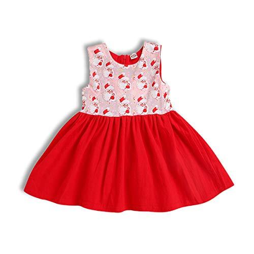 Wiswell Toddler Baby Girls Christmas Dress Cartoon Santa Claus Sleeveless Ruffled Skirt (Red, 120/3-4years)]()