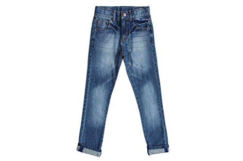 Bienzoe Little Boy's Cotton Adjustable Waist Slim Denim Pants Blue Jeans Size 8 Adjustable Waist Denim Jeans