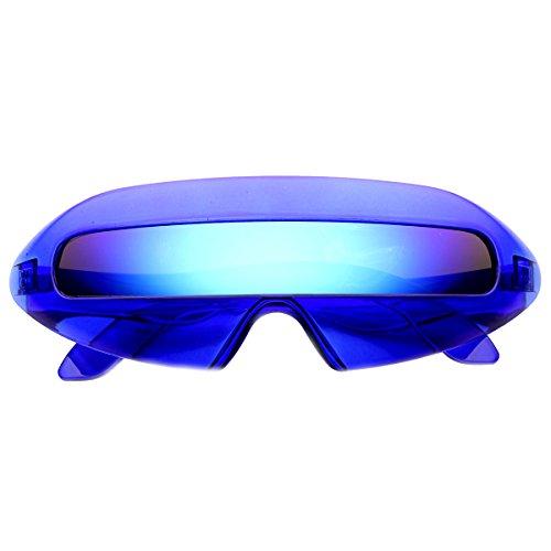 zeroUV - Retro Futuristic Cyclops Color Mirroed Lens Wrap Around Sunglasses (Crystal Blue / Ice - Sunglasses Mirroed