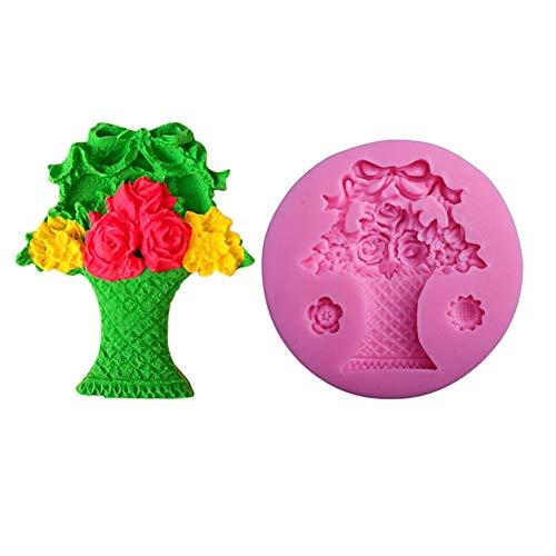 New-look Flower Basket Silicone Cake Mold Fondant Molds Cake Decorating Tools Candy Kitchen Baking Moulds (Mold Basket Flower)