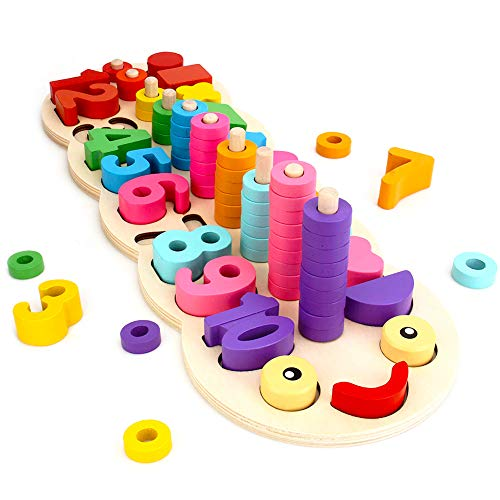 (GEDIAO Wooden Math Blocks Puzzles Montessori Toys for Toddlers Sorting and Stacking Learning Toys for Kids Number Counting)