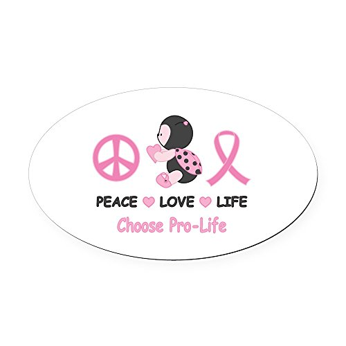 CafePress Ladybug Pro-Life Oval Car Magnet Oval Car Magnet, Euro Oval Magnetic Bumper Sticker