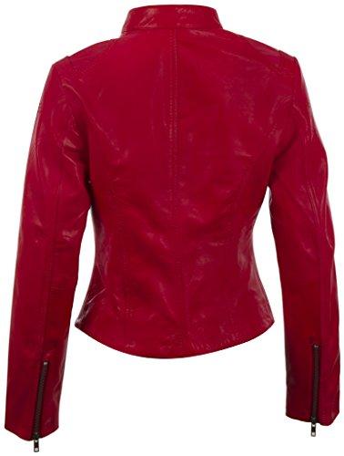 de oveja súper motociclista de piel mujer Chaqueta De MDK de suave Rojo moda de para 0vwq0I4