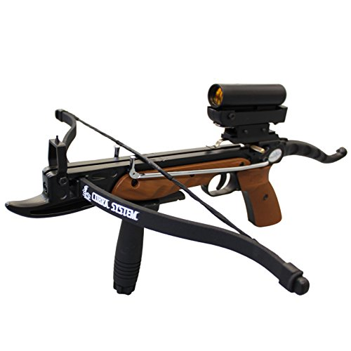 Prophecy 80 Pound Aluminum Self-Cocking Pistol Crossbow with Cobra System Limb, Red Dot Scope and 3 Arrows (Scope For Pistol Crossbow)
