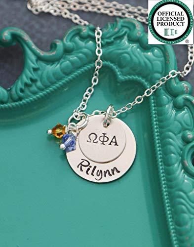 (Personalized Custom Greek Jewelry - DII ABC - Handstamped Sorority Sister Necklace - 1/2 3/4 Inch 19 25.4MM Discs - Chi Omega - BSR - Reveal Gift - Fast 1)