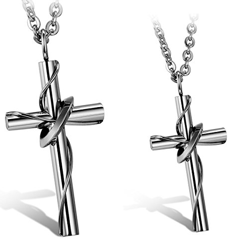 - Oidea 2 Pcs Mens Womens Stainless Steel Lingering Cross Pendant Necklace for Couples, Valentines Gift