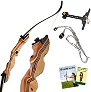 """KESHES Takedown Hunting Recurve Bow and Arrow - 62"""" Archery Bow for Teens and Adults, 15-55lb Draw Weight"""