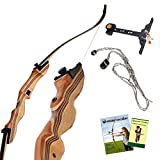 KESHES Takedown Hunting Recurve Bow and Arrow - 62 Archery Bow for Teens and Adults, 15-55lb Draw Weight - Right and Left Handed, Archery Set Bowstring Arrow Rest Stringer Tool Sight