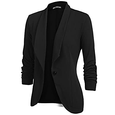 Beyove Women's 3/4 Stretchy Ruched Sleeve Open Front Lightweight Work Office Blazer Jacket S-XXL at Women's Clothing store