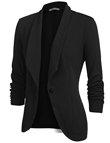 Beyove Women's 3/4 Sleeve Blazer Open Front Cardigan Jacket Work Office Blazer Black S by Beyove (Image #2)