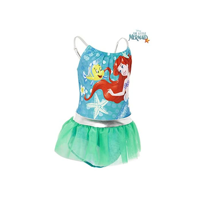 41KA9KacrEL ? TRAJE DE BAÑO DE LAS PRINCESAS DISNEY --- Estos bonitos trajes de baño de las princesas Disney nos presenta a los personajes más populares de las famosas películas: La sirenita Ariel, Cinderella, Jasmine, Rapunzel, Blancanieves, Pocahontas, Bella, Mulan, Tiana y Mérida. Nuestro traje de baño para niñas está disponible en 2 diseños diferentes y en una amplia gama de tallas. ? 2 DISEÑOS PARA ELEGIR --- Nuestros trajes de baño para niñas están disponibles en 2 diseños, cada uno con detalles con volantes y tirantes finos. Elige entre nuestro traje de baño de la sirenita Ariel en color verde esmeralda o nuestro traje de baño con todas las princesas Disney en color rosa. Mezcla de poliéster