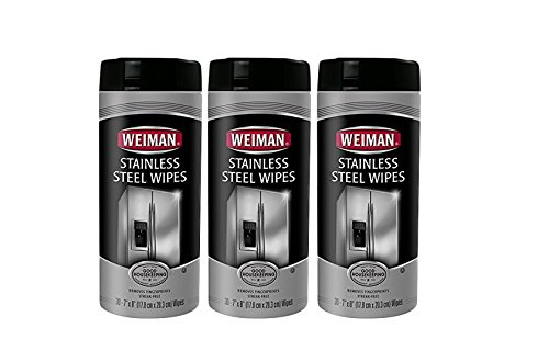 3-pack Weiman Stainless Steel Wipes, (Pack of 30, total of 90 wipes) (Stainless Steel Cleaning Wipes)