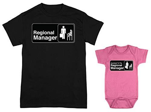 HAASE UNLIMITED Regional Manager/Assistant 2-Pack Bodysuit & Men's T-Shirt (Black/Pink, Medium/12 Months)