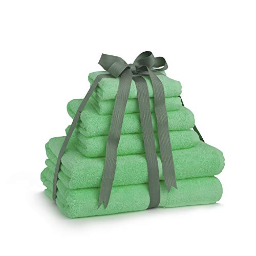 White Spindle 100% Extra Long Staple Cotton Bath Towel Set, Luxury 6 Piece Set – 2 Bath Towels, 2 Hand Towels and 2 Washcloths (Oeko-Tex Certified) – Green