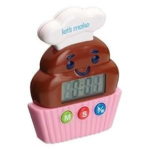 Kitchen Craft Let's Make - Temporizador digital (hasta 100 min), diseño de cupcake
