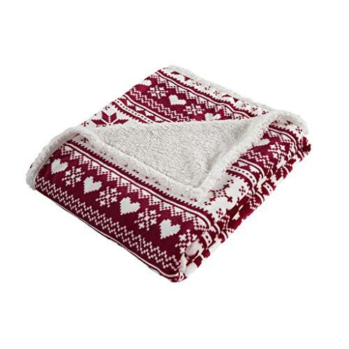 HYSEAS Christmas Blanket Snowflakes Print Sherpa Throw Blanket with Gift Bag, Red