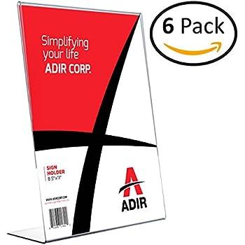 "Adir Plexi Acrylic 8.5"" X 11"" Single Slant Back Design Sign Holder - Clear - Pack of 6"