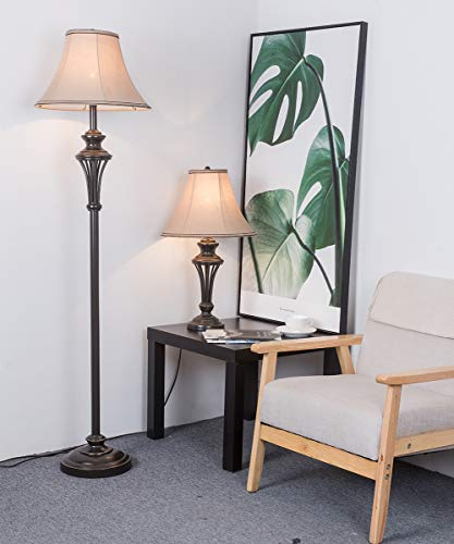 3 Pack Lamp Set (2 Table Lamps, 1 Floor Lamp), 3-Piece Vintage Style Table and Floor Lamp Set in Bronze Finish with Brown Fabric Lamp Shades, 26'' and 61''(H), Solid Iron by Smeike (Image #8)