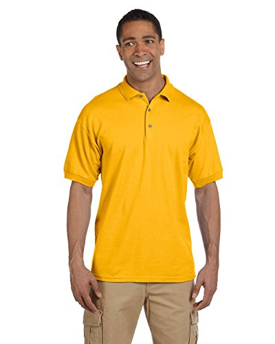 - Gildan Men's Short Sleeve Polo Sport Shirt, GOLD, XX-Large