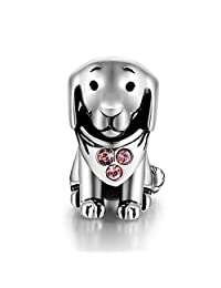925 Sterling Silver Puppy Dog Animal Charms with AAA Cubic zirconia Fit Bracelets for Women