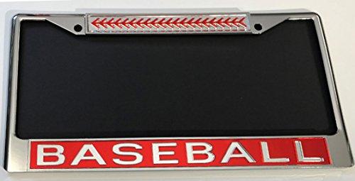 Baseball Acrylic License Plate Frame Car Tag RED/CLR