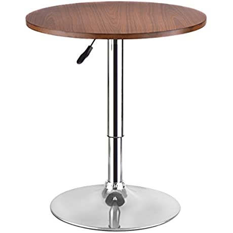 Modern Round Bar Table Adjustable Bistro Pub Counter Wood Top Swivel Indoor