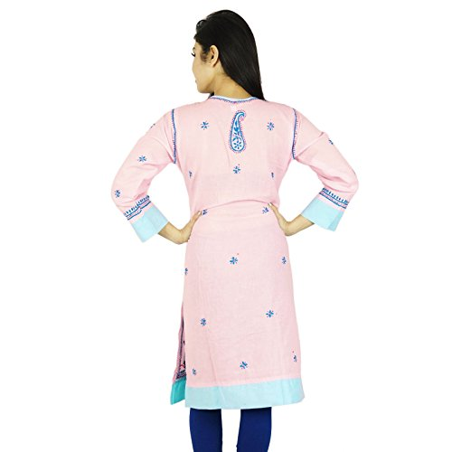 Étnica Diseñador Kurti Chikan bordado Kurta Bollywood mujeres vestido casual Pink-1