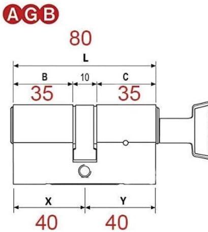 30-10-40 5 chiavi Lunghezza del cilindro 80 mm. doppia funzione,il cilindro funziona anche con le chiavi inserite su i lati. Cilindro di sicurezza europeo AGB serie 5000 PS Antibumping
