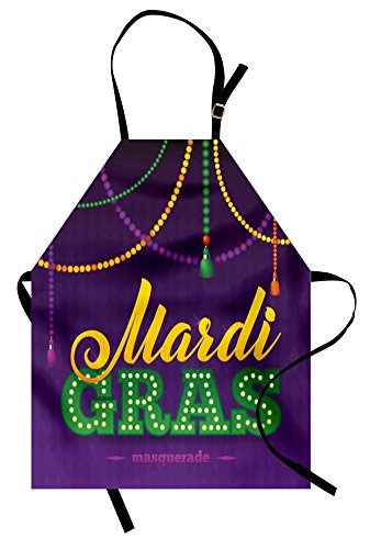 Ambesonne Mardi Gras Apron, Beads and Tassels Masquerade Theme Calligraphy Design Fun Print, Unisex Kitchen Bib with Adjustable Neck for Cooking Gardening, Adult Size, Purple Marigold