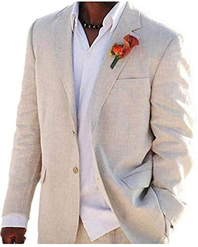 Beige Summer Beach Wedding Suits 2 Pieces Men Suits Groom Tuxedos 2 Buttons Beige 46 Chest / 40 ()