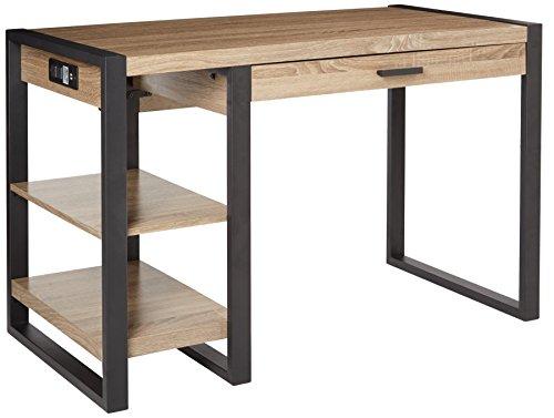 "WE Furniture 48"" Industrial Wood Storage Computer Desk, Driftwood"