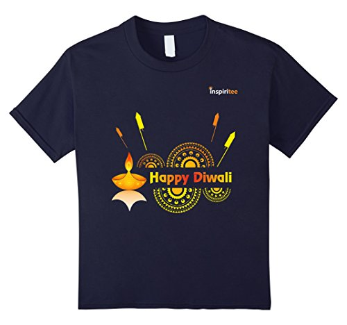 Kids Inspiritee - Happy Diwali - T Shirt 3 6 Navy by Inspiritee