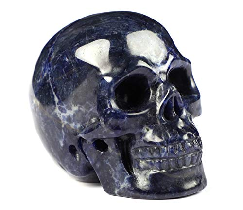 Skullis 2.0″ Sodalite Crystal Skull, Hand Carved Gemstone Fine Art Sculpture, Reiki Healing Stone Statue.1
