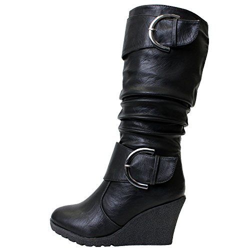 Top Moda Pure 65 Damen Slouch Wedge Stiefel Schwarz