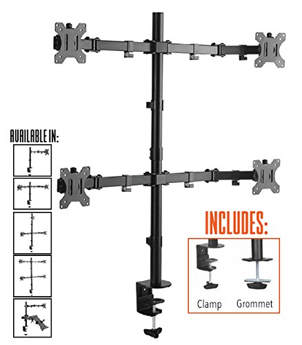 Stand Steady Monitor Arm | Height Adjustable with Full Articulation (4 Monitors Clamp) by Stand Steady